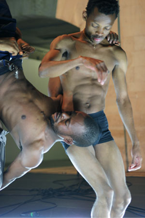 African dancers Faustin Linyekula and Papy Ebotani in performance