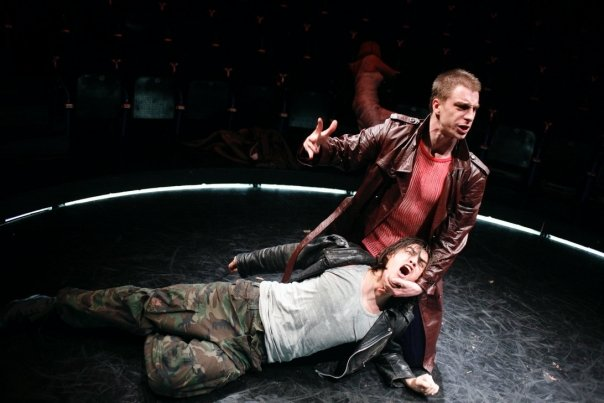 """Stipe Kostanic and Jure Henigman in Heiner Muller's """"Macbeth After Shakespeare"""" 
