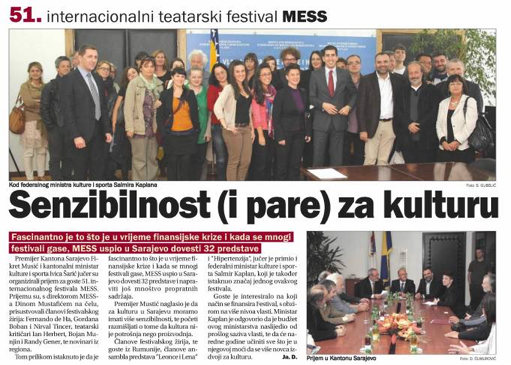 Media coverage: Oslobodjenje, a Sarajevo newspaper, reports on a meeting with MESS Sarajevo attendees