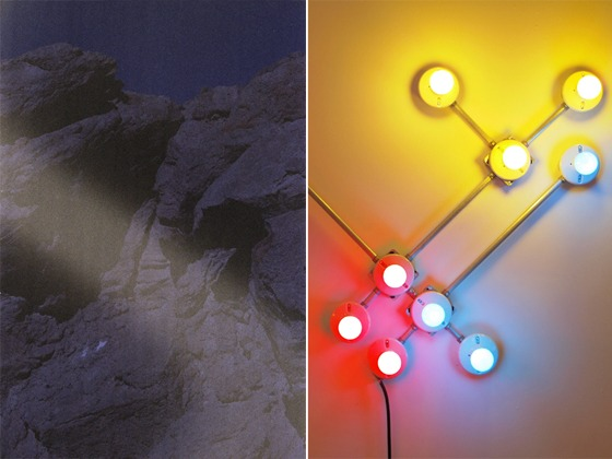 """Left: A.K. Burns, """"Hard Rock"""", 2012, Digital C-Print, 34 x 44 inches / Right: G.T. Pellizzi, """"Conduit in Red, Yellow, & Blue"""" (Detail), 2011, Light bulbs, galvinized steel, convolute porcelain, and wire"""