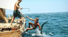 """Torstein Raaby and Knut Haugland in """"Kon-tiki"""" (Norway)   Photo by Carl Christian-Raabe"""