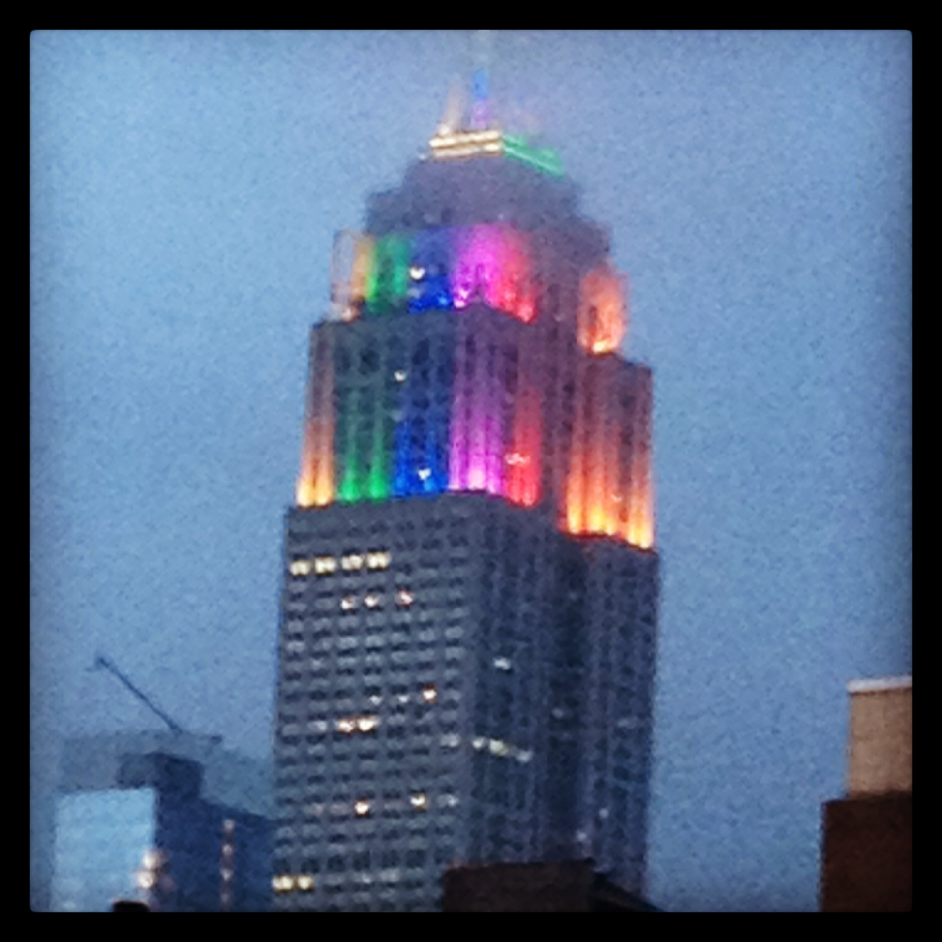 Empire State in rainbow colors on gay pride | Photo by Randy Gener